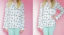 Bird Print Patterned Pyjama Style Long Sleeved Blouse / Shirt