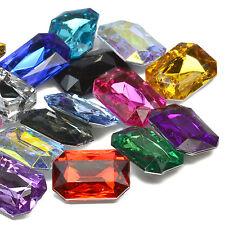 13x18mm Emerald Acrilico Cristallo Strass Cabochon Abbellimento gemme decorative