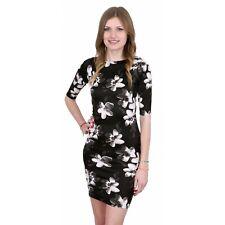 Black Floral Soft & Elastic Bodycon Fit Half Length Sleeve Mini Dress John Zack