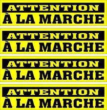 LOT DE 4 AUTOCOLLANTS LUSTRÉ, ATTENTION À LA MARCHE, POUR INTÉRIEUR OU EXTÉRIEUR