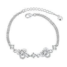 Damen Armband  Armreif Silber mit schönen weißen Zirkonia  Panzer Kordel Herz