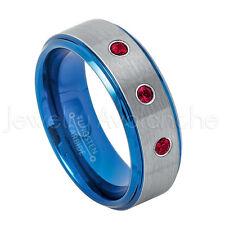8mm Blue Tungsten Ring, 0.21ctw Ruby 3-Stone Ring, July Birthstone Ring #744
