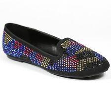 Black Blue Gold Pink Rhinestone Studded Round Toe Ballet Flats Paprika Sugi-S