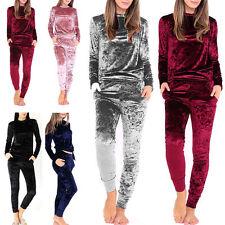 Ladies Women's  Velour Velve 2PC Crushed Sweatshirt Jogger Top Bottom Loungewear