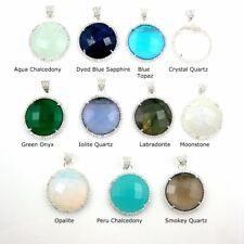 Silver Pave Round Bezel Gemstone Necklace Pendant, Cubic Zirconia Pave Pendant