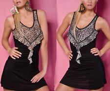 ♥ Sexy Miss Femmes Tank Top Girly D'été Mini Robe Léopard Volant STRASS 34/36/38