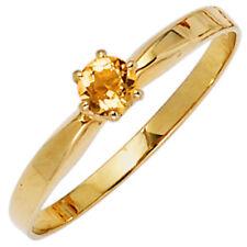 ANELLO DONNA CON QUARZO CITRINO GIALLO-ARANCIONE & oro 585 giallo SEMPLICE