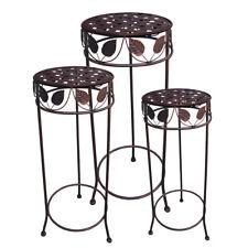 Metall Blumenhocker Blumensäule Beistelltisch Shabby Tisch Antik braun rund