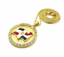 "New Dominican Republic Flag Round Pendant & 24"" Chains Hip Hop Necklace - XSP558"