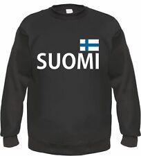 SUOMI Sweatshirt Pullover mit Flagge - S bis 3XL - schwarz - finland finnland