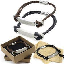 gravé coordonnées Bracelet en cuir personnalisé BARRE coordonné Latitude boîte