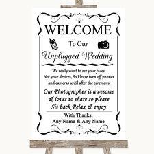 Black & White No Phone Camera Unplugged Personalised Wedding Sign