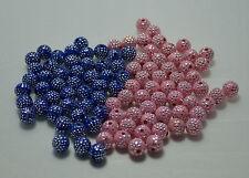 20-30 Perle Point Argentées 8mm couleur Bleu et Rose argentes pour vos création
