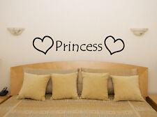 Princess Hearts Nursery Children's Bedroom Room Decal Wall Art Sticker Picture