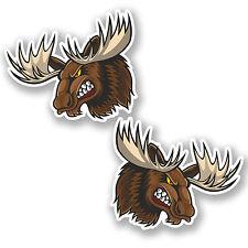 2 x 10cm Angry Moose Vinyl Stickers iPad Laptop Car Helmet Canada Deer #4825