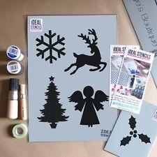 Christmas themed motif stencil set card craft window decorating paint Stencils