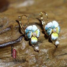 Grossiste Revendeur Vente en Gros Boucle d'Oreille Fleur Bleue Perle DD 4