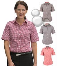 Ladies Check Shirt Size 6 8 10 12 14 16 18 20 22 24 Short Sleeve Gingham