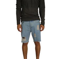 Men's Afends Cut Off Denim Shorts Stone Blue