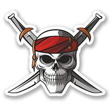 2 x Pirate & Swords Vinyl Sticker Car Bike iPad Laptop Crossbones Skull #5568