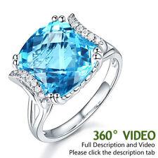 14K White Gold Luxury Anniversary Ring 9.6 Ct Cushion Swiss Blue Topaz Diamond