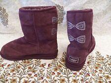 New Womens UGG Classic Short Crystal Bow Port Wine Swarovski Sheepskin Boots