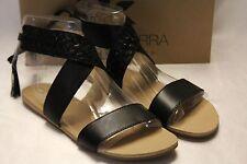NEW NIB KOOLABURRA Black Woven Leather ALEXA Gladiator Ankle Flat Sandals 7 8 9