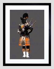 SCOTTISH PIPER TERRIER ORANGE KILT BLACK FRAMED ART PRINT PICTURE B12X13735