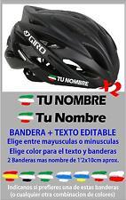 pc51 Bandera Euskadi ikurriña Nombre Editable Pegatina casco bicicletas Vinilo