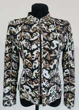 White Leopard Pattern Leather Coat Woman Jacket Leaf Design Zip Light Short D1