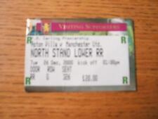 26/12/2000 Ticket: Aston Villa v Manchester United  (Cr