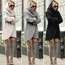 New Women Ladies Winter Casual Long Coat Woolen Warm Hooded Overcoat Top Outfits