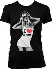 I Love To Party Music Headphones Hot Women Dance Club Juniors T-shirt