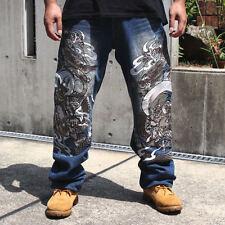 Limited Edition Mens Jeans Japanese Pattern Embroidery Denim Myth Dragon W30-W42