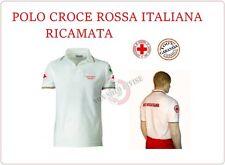 Polo Bianca Manica Corta Ricamata Croce Rossa Italiana New Capitolato CRI C.R.I.