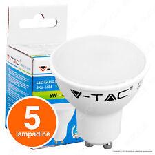 5 LAMPADINE V-TAC GU10 Faretto Spotlight 5W 110° Luce Calda Naturale Fredda Vtac