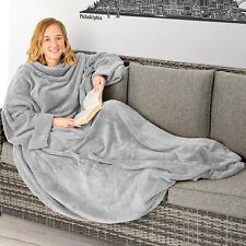 Deken met mouwen sprei zachte warme knuffeldeken met zakken 170 x 200 cm Grijs