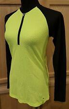 Ralph Lauren 203593364006 Active Yellow/Black Stretch Honeycomb Knit Halfzip Top