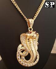 "14K Gold PT Cobra Snake Hip Hop Iced Out Pendant & 6mm 36"" Cuban Chain Necklace"
