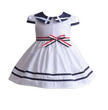 Cinda Filles Coton Robe de fête bleu rouge blanc 3 6 9 12 18 mois 3 4 5 6 7 ans