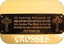 Personalised Memorial Panchina Placca Segno Cross Design qualsiasi formulazione desideri 160x55