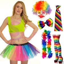 New Clown Multi Rainbow Color Fancy Dress Accessories Clown Wig Tie Braces Socks