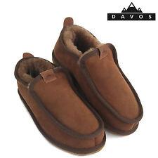 Men's Luxury Brown Handmade 100% Genuine Sheepskin Suede Fur Slippers EVA Sole