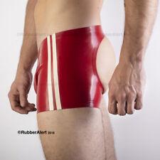"""SPORT"" SHORTS, Open Back, Twin SIDE STRIPES, Rubber, Medium Weight 0.5mm latex"