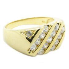 """925 Silber Herren Damen Ring """"Mulit Linez"""" Zirkonia Diamant Bling 24 K vergoldet"""