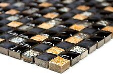 Mosaikfliese Resin/Stein mix schwarz  kupfer Glasmosaik Rustikal Art: 92-0301_b