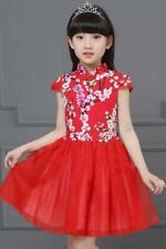 Kid Red Floral Qipao Dress Cheongsam Dress