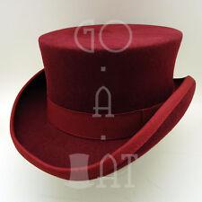 CLASSIC Wool Felt Men Top Hat Coachman Tuxedo Victorian | Burgundy | Size M L XL