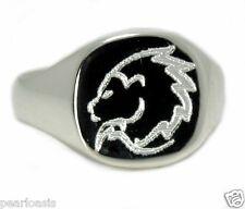 14X14MM Custom Engraved Horoscope Zodiac Sign Men's Ring, Silver, Size 11, NEW