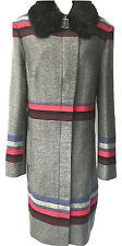 New KAREN MILLEN Statement Stripe Grey Black Fur Collar UK Size 16 44 Long Coat